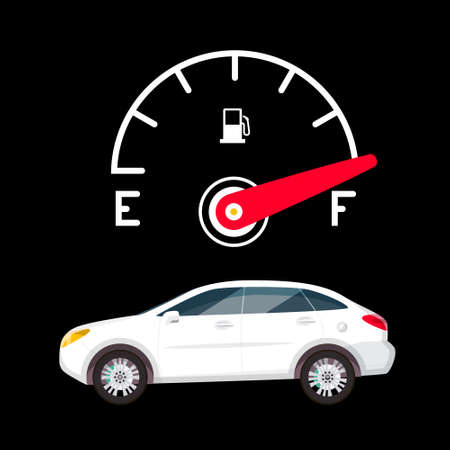 Full Fuel Gauge and White Car on Dark Background - Vector Ilustrace