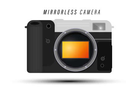 Modern Retro Style Mirrorless Digital Camera without Lens with Full Frame Sensor Isolated on White Background - Vector Illustration