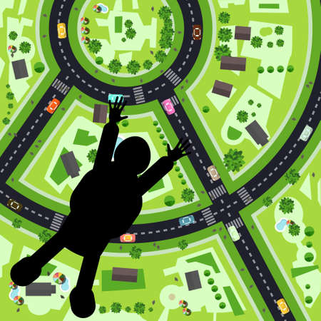Parachutist - Skydiver Silhouette - Jumping with City Streets on Earth Down on Background - Vector