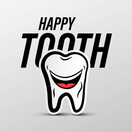 Happy Tooth Vector Cartoon Isolated - Teeth Whitening Concept