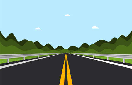 Empty Asphalt Road with Hills on Background - Vector