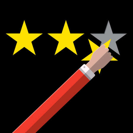 Three Gold Stars Rating Symbol with Hand on Dark Background - Vector Ranking Concept