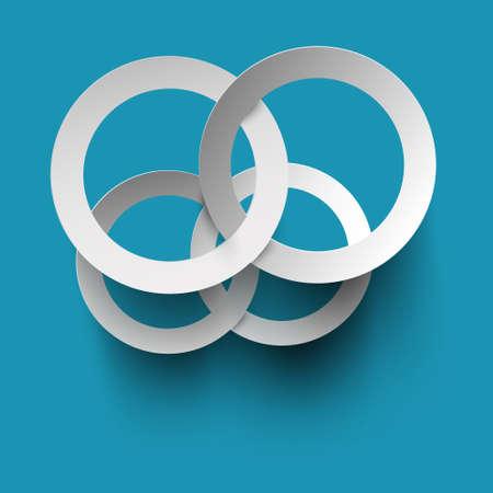 Paper Cut Circles on Blue Background - Vector Reklamní fotografie