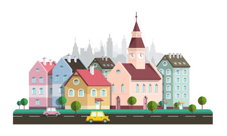 Abstract Vector City with Buildings, Trees and Cars on Street Isolated on White Background