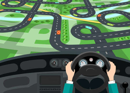 Car Interior with Hands on Steering Wheel and City Map with Roads behind the Window - Vector Cartoon