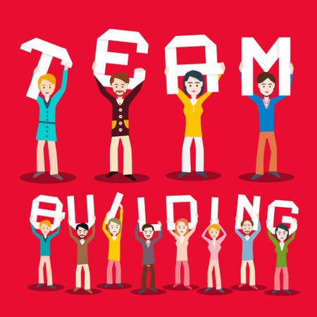People Holding Team Building Paper Cut Letters - Vector Cartoon