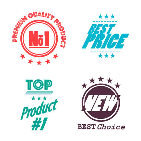 Premium Quality Priduct, Best Price, Top Product #1 and Best Choice - New Labels Set - Vector Flat Design Retro Icons
