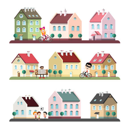 Houses Set with People - Abstract City or Village Vector Cartoon