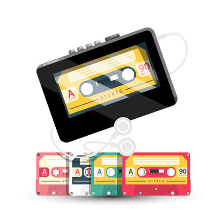 Personal Stereo - Retro Cassette Tape Player With Cassettes and Earphones Isolated on White Background - Vector