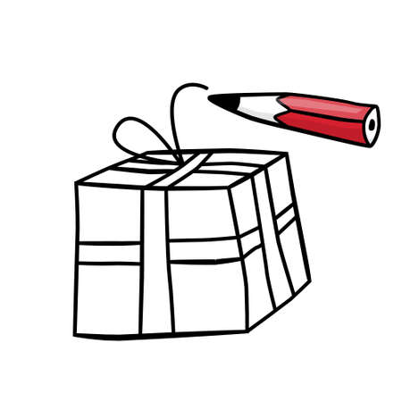 Gift Box Illustration with Pencil - Vector Cartoon