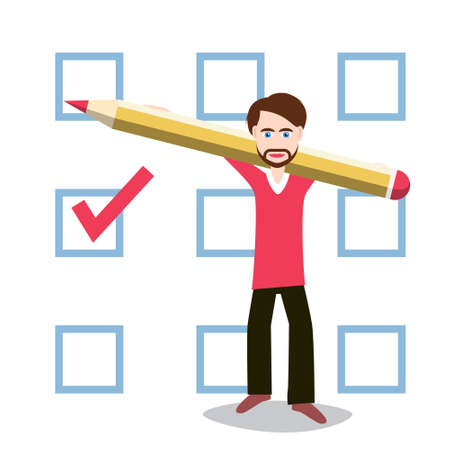 Man Holding Pencil with Checkbox on Background - Vector Ilustrace