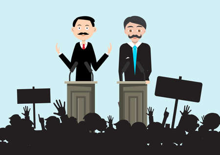 Political Meeting with Two Candidates and Crowd Silhouette - Vector Ilustrace