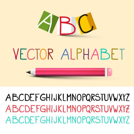 Uppercase Vector Alphabet - Hand Drawn Font with Pencil Catoon