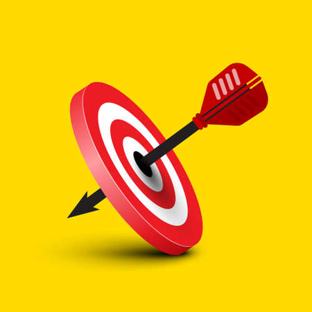 Successful Shot on Dartboart with Dart on Yellow Background - Vector
