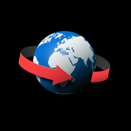Globe - Earth Planet in Universe with Arrow - Rotation Direction Vector Illustration Ilustrace