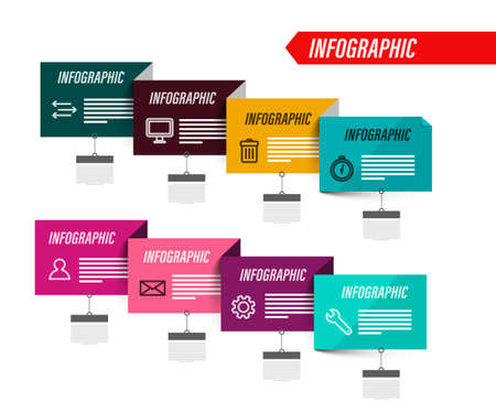 Business Infographic with Colorful Papers - Vector Infographics Design