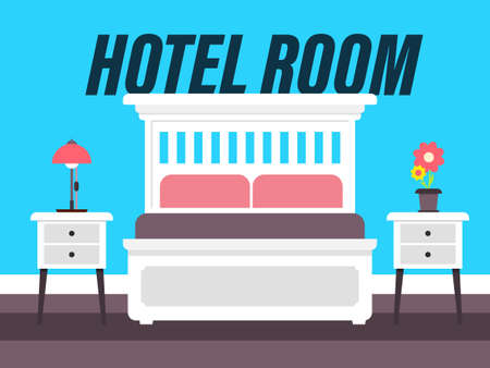 Hotel Room Vector Cartoon with Bed and Blue Wall