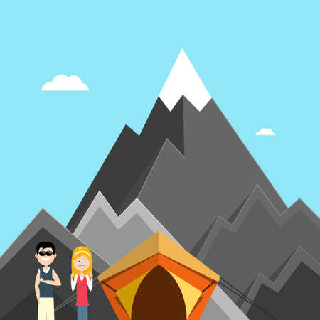 Man and Woman - Couple on Track in Mountains with Tent - Vector Cartoon