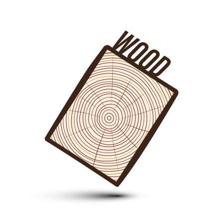 Raw Rectangle Wood Slice Vector Illustration Isolated on White Background