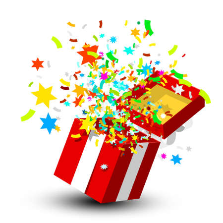 Open Gift Box with Confetti - Vector Ilustrace