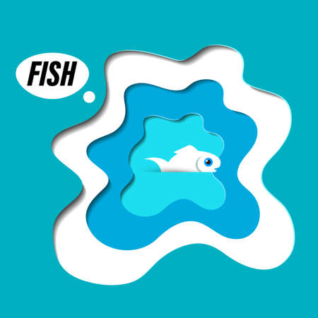 Paper Cut Fish in Water Vector Cartoon