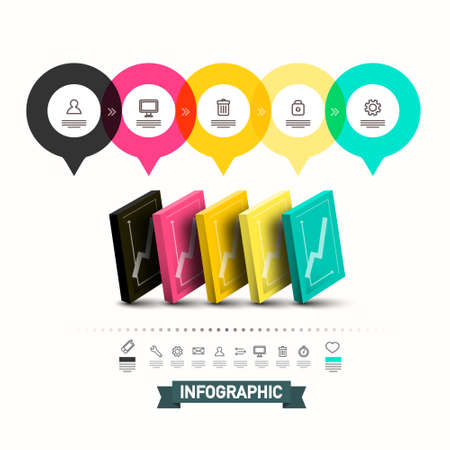 Infographic Template with Graphs and Icons - Vector Ilustrace