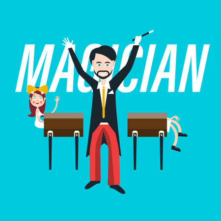 Sawing Lady - Magician with Female Assistant Vector Cartoon - Trick with Dividing Woman on Two Parts - Theater Show