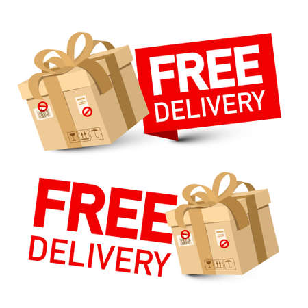 Free Delivery Vector Symbol - Icon with Paper Box