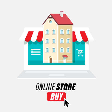 Online Store Vector Design with Laptop Computer, Buy Button and House
