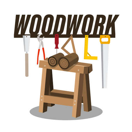 Woodwork Vector Cartoon with Wood and Tools Isolated on White Background