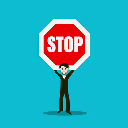 Man Holding Stop Sign - Vector Cartoon