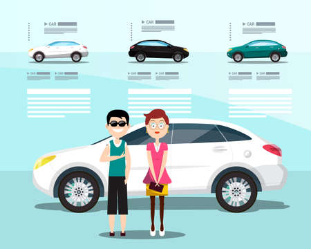 Car Dealer Flyer with Happy Man and Woman, Cars and Sample Texts Ilustrace