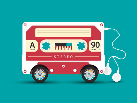 Cassette Tape with Wheels and Earphones - Abstract Retro Vehicle