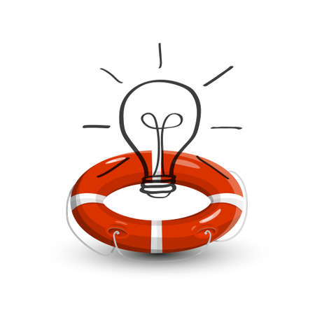 Lifebuoy with Lightbulb Isolated on White Background - Rescue Idea Concept Ilustrace