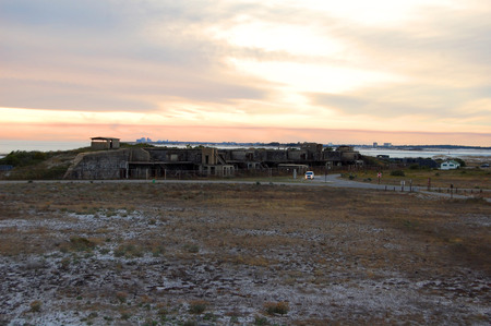 Florida, Fort Pickens, Pensacola, sea grass, sea oats, Sunset, old brick, decaying building, falling down building, exposed brick, bunker