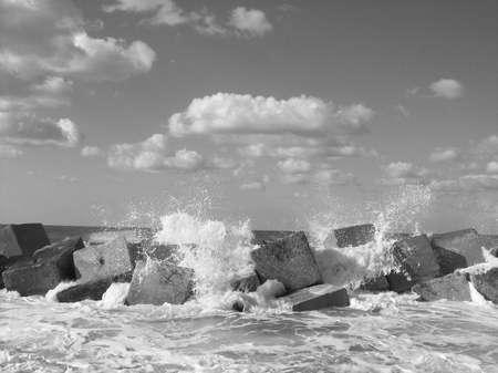 alexandria: black & white blowing waves in alexandria Stock Photo