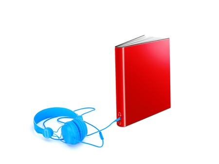 Hardcover book with audio jack and headphones Stock Photo - 14308050