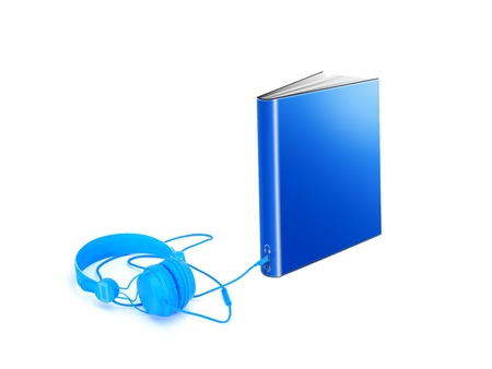 aloud: Hardcover book with audio jack and headphones Stock Photo