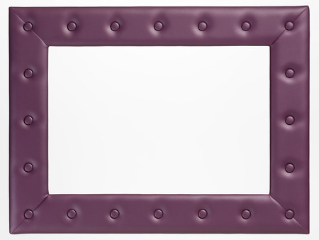 modern frame: A blank leather picture frame on white background Stock Photo