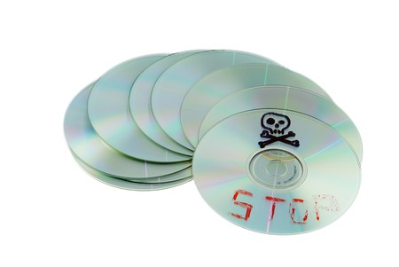 compact disk: compact disk, optical storage, recovery information, pirate symbol Stock Photo