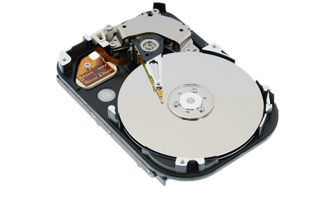 hdd: hdd inside, magnetic head and plates Stock Photo