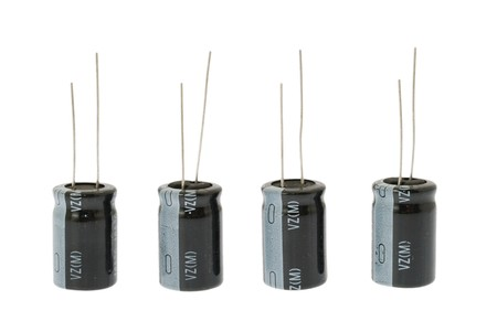 capacitors: electrolytic capacitors, electronic and computer component Stock Photo
