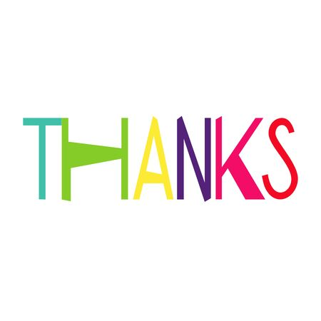 Thanks text isolated on white. hand lettering for design. Thank you card or tag. Vector illustration.