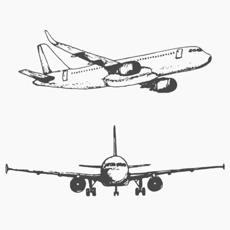 Two isolated sketch images of plane.