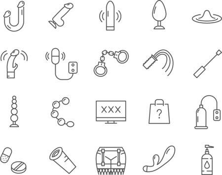 Set von Sexspielzeug-Symbolen. Linienvektorsymbole.