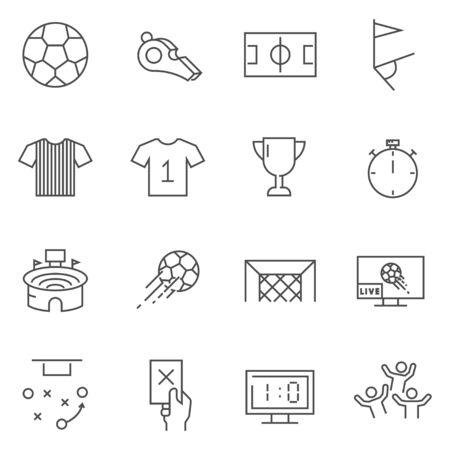 Set of Soccer line vector icons. Çizim