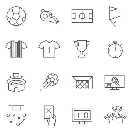 Set of Soccer line vector icons. Illustration