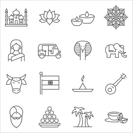 Set of India Symbols line vector icons. Outline style
