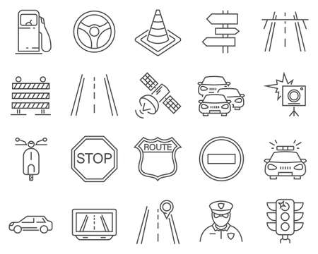 Set of Traffic line vector icons. Vettoriali