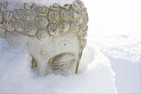 Buddha in snow
